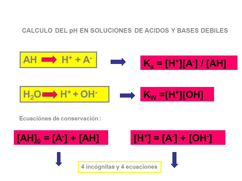 AH H+ + A- Ka = [H+][A-] / [AH] H2O H+ + OH- KW =[H+][OH]